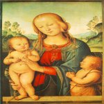 Pietro Perugino (1445-1523)  Madonna with Child and Little St John  Oil on wood, 1505-1510  26 3/8 x 17 1/4 inches (67 x 44 cm)  National Gallery, London, England